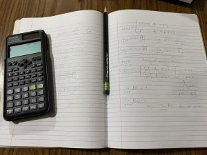 picture of notebook with math notes